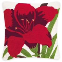 Red Lilly Square Throw Pillow