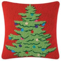 Ornamental Christmas Tree Square Throw Pillow in Red/Green