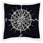 Chainstitch Compass Square Throw Pillow in Navy