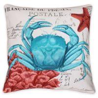 French Coastal Crab Throw Pillow
