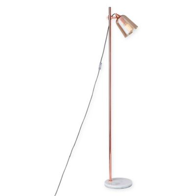 Buy copper floor lamp from bed bath beyond adesso marlon floor lamp in copper with amber glass shade aloadofball Choice Image