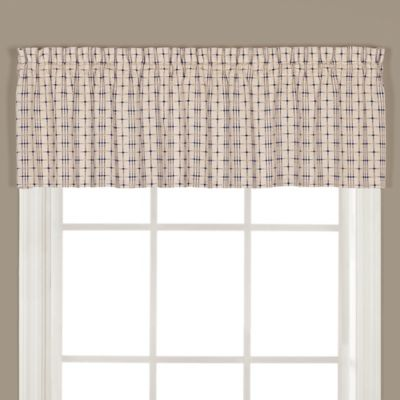 crosswalk kitchen window curtain valance in navy