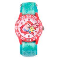 Disney® Little Mermaid Children's Ariel/Flounder Time Teacher Watch in Red Plastic w/Nylon Strap