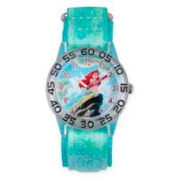 Disney® Little Mermaid Children's Ariel's Rock Time Teacher Watch in Plastic w/Green Nylon Strap