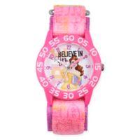 "Disney® Belle Children's ""Believe in You"" Time Teacher Watch in Pink Plastic w/Pink Nylon Strap"