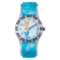 Disney® Cinderella Children's Princess Time Teacher Watch in Clear Plastic w/Blue Nylon Strap
