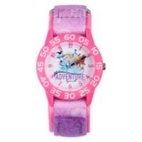 Disney® Princess Children's Adventure Time Teacher Watch in Pink Plastic w/Pink Nylon Strap