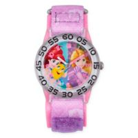 Disney® Princess Children's Ariel and Rapunzel Time Teacher Watch in Plastic w/Nylon Strap