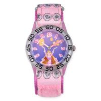 Disney® Rapunzel Children's Lantern Time Teacher Watch in Clear Plastic w/Pink Nylon Strap