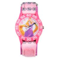 Disney® Rapunzel Children's Long Hair Time Teacher Watch in Pink Plastic w/Pink Nylon Strap