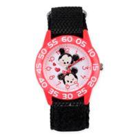 Disney® Tsum Tsum Children's Mickey and Minnie Time Teacher Watch in Red Plastic w/Nylon Strap