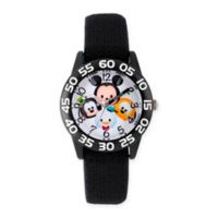 Disney® Tsum Tsum Children's Mickey Friends Black Time Teacher Watch in Plastic w/Nylon Strap