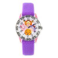Disney® Tsum Tsum Children's Pooh and Pals Time Teacher Watch in Plastic w/Purple Nylon Strap