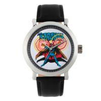 Marvel® Dr. Strange Men's 44mm Vintage Comic Watch in Silvertone w/Black Leather Strap