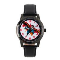 Marvel® Dr. Strange Men's 38mm Vintage Soaring Watch in Black w/Black Leather Strap
