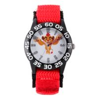 Disney® The Lion King Children's Simba Time Teacher Watch in Black Plastic w/Red Nylon Strap