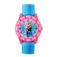 Disney® Frozen Children's Anna and Elsa Time Teacher Watch in Pink Plastic w/Stretch Nylon Strap