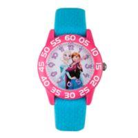 Disney® Frozen Children's Sisters Time Teacher Watch in Pink Plastic w/Purple Nylon Strap