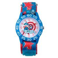 Marvel® Avengers Children's Captain America Time Teacher Watch in Blue w/Logo Nylon Strap