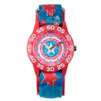 Marvel® Avengers Children's Captain America Shield Time Teacher Watch in Red w/Nylon Strap