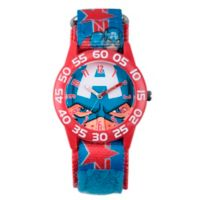 Marvel® Avengers Children's Captain America Time Teacher Watch in Red Plastic w/Logo Nylon Strap