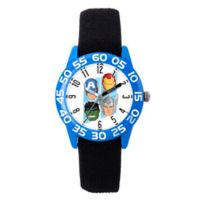 Marvel® Avengers Children's Team Faces Time Teacher Watch in Blue Plastic w/Black Nylon Strap