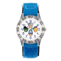 Marvel® Avengers Children's Team Faces Time Teacher Watch in Clear Plastic w/Blue Nylon Strap