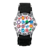 Marvel® Avengers Children's Shield Logo Time Teacher Watch in Clear Plastic w/Black Nylon Strap