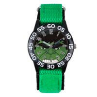 Marvel® Avengers Children's The Hulk Eyes Time Teacher Watch in Black Plastic w/Nylon Strap