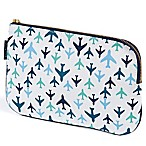 Keep Leaf Flat Cosmetic Bag in Planes Print