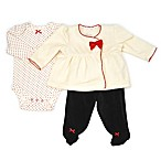 Sterling Baby Newborn 3-Piece Velour Jacket, Footed Pant, and Bodysuit Set in Ivory/Black