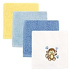Baby Vision® Luvable Friends® 4-Pack Monkey Washcloth Set