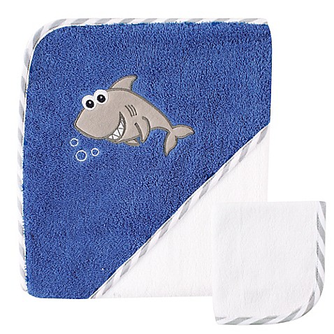 buy baby vision luvable friends shark hooded towel and washcloth set in blue from bed bath. Black Bedroom Furniture Sets. Home Design Ideas