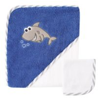 Baby Vision® Luvable Friends® Shark Hooded Towel and Washcloth Set in Blue