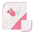 Baby Vision® Luvable Friends® Shark Hooded Owl and Washcloth Set in Pink