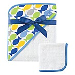 Baby Vision® Hudson Baby® Fish Hooded Towel and Washcloth Set in Blue