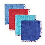 Babyvision® Hudson Baby® 4-Pack Lattice Woven Washcloth in Blue/Red