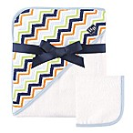 Baby Vision® Hudson Baby® Chevron Hooded Towel and Washcloth Set in Blue