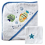 BabyVision® Luvable Friends® Fishes Hooded Towel and Washcloth Set in Blue