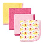 BabyVision® Luvable Friends® 4-Pack Elephant Washcloth Set in Pink
