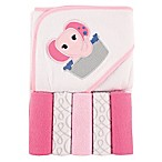 BabyVision® Luvable Friends® Hooded Towel and 5-Piece Washcloth Set in Pink