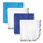 Babyvision® Hudson Baby® 4-Pack Lattice Woven Washcloth in Blue/White