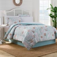 Muriel Queen Comforter Set in Aqua/Gray