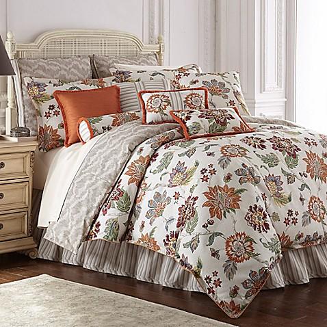Rose Tree Lisburn Reversible Comforter Set In Orange Bed