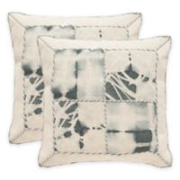 Safavieh Dip-Dye Quartre Patch 20-Inch Square Throw Pillows in Seasalt (Set of 2)