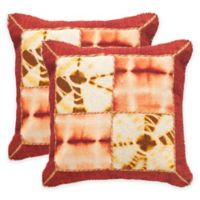 Safavieh Dip-Dye Quartre Patch 20-Inch Square Throw Pillows in Chili Pepper (Set of 2)