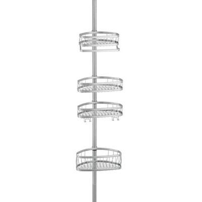 interdesign york tension shower caddy in silver