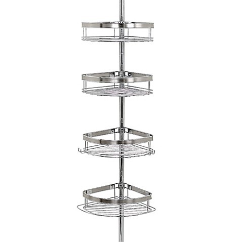 Zenna home tension corner pole shower caddy in chrome for Caddy corner bed