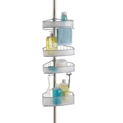 interdesign rain tension corner shower caddy in silver
