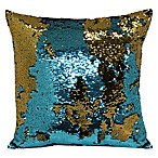 Mermaid Sequin Throw Pillow in Teal/Bronze
